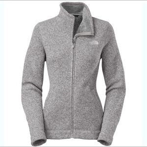 The North Face Gray Sweater Knit Full Zip Jacket